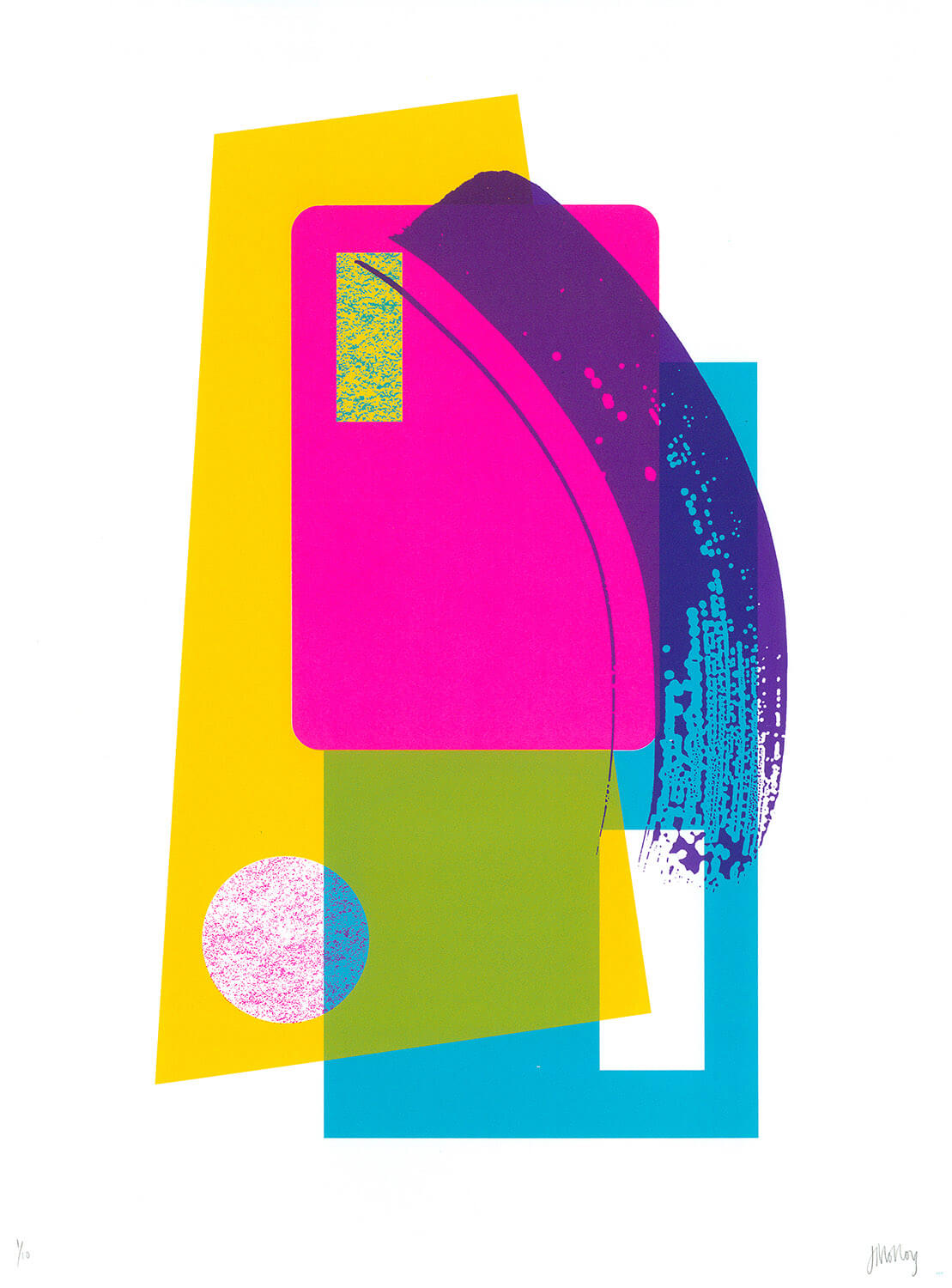 Abstract pop art screenprint in yellow, pink & blue, with purple brushstroke effect, in a limited edition by Josie Blue Molloy