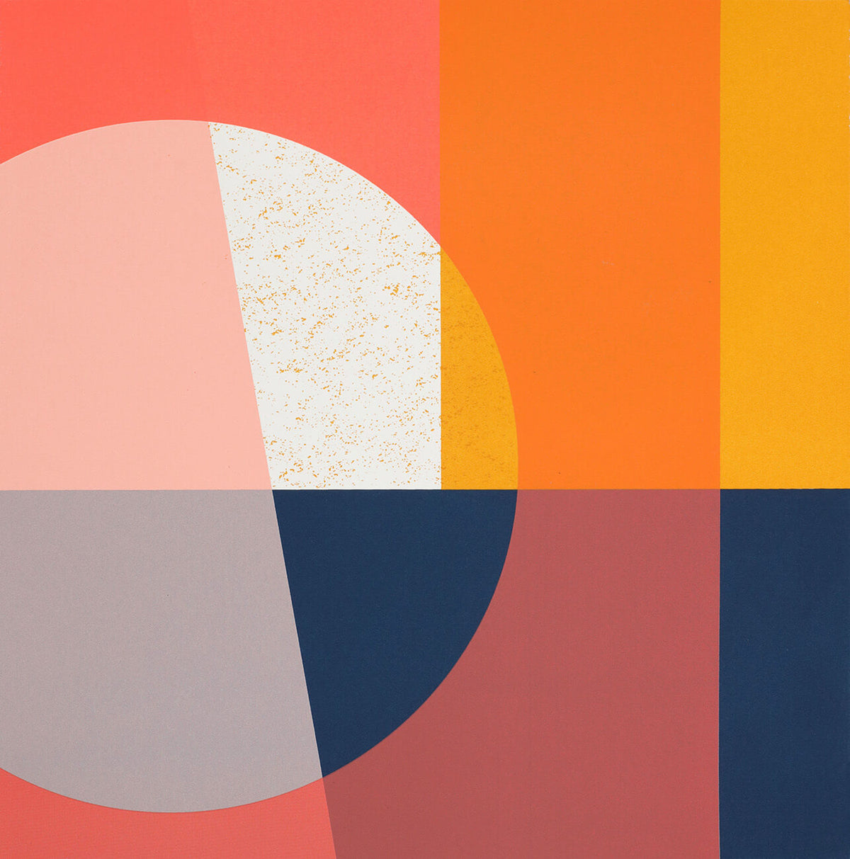 Abstract pop art screenprint with orange in a limited edition by Josie Blue Molloy