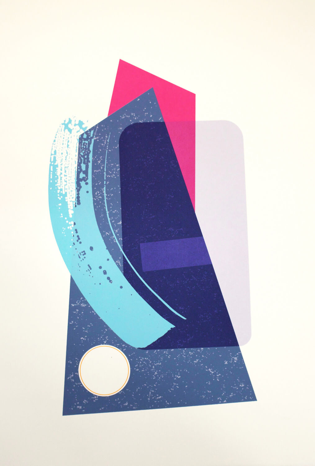 Abstract pop art screenprint in blue & pink, with blue brushstroke effect, in a limited edition by Josie Blue Molloy