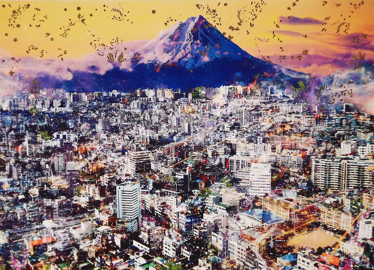 Mount Fuji cityscape print with laser cut in a limited edition by Rebecca King