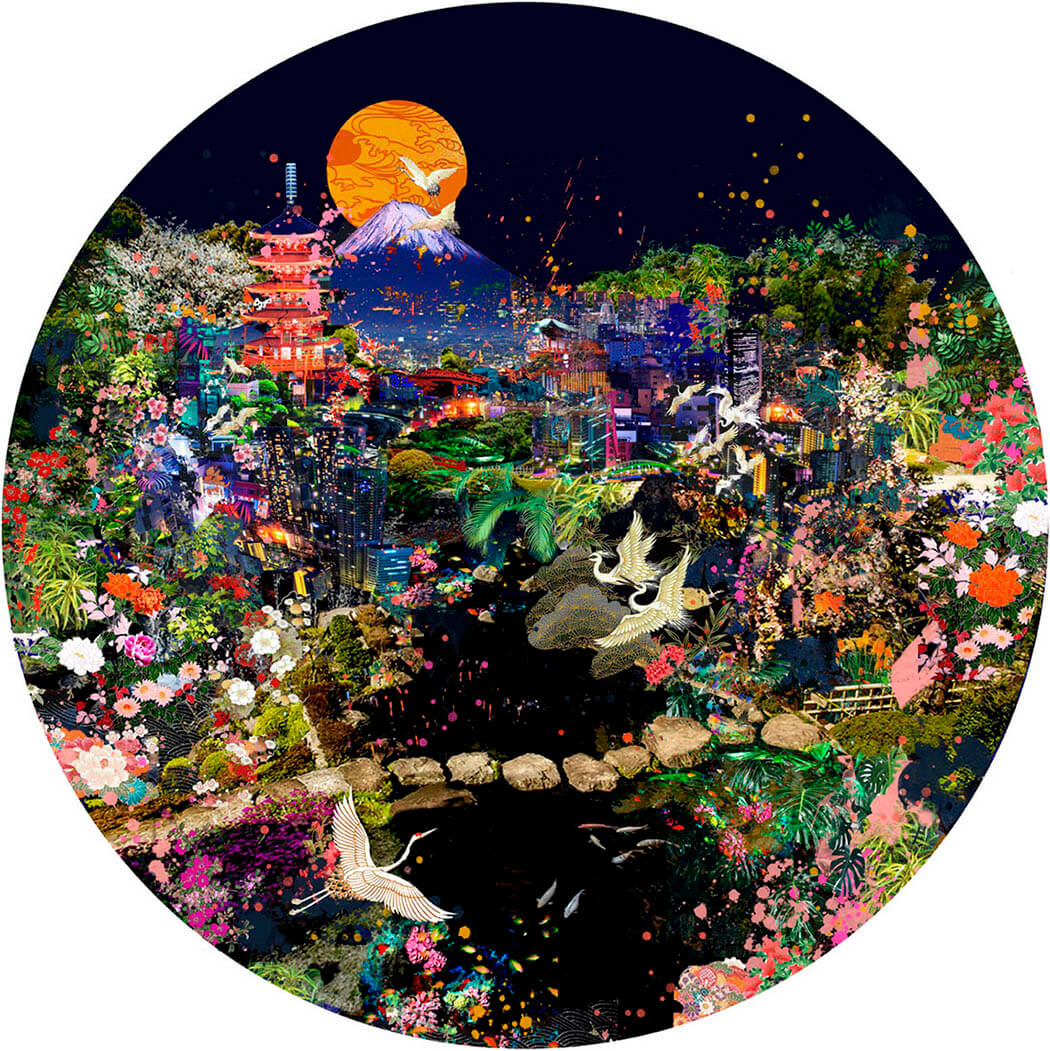 Japanese cityscape circular print featuring flora and Mount Fuji in a limited edition by Rebecca King