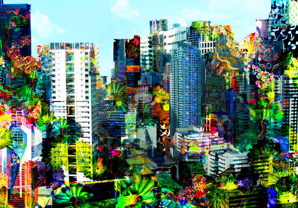 Cityscape and jungle limited edition print by Rebecca King