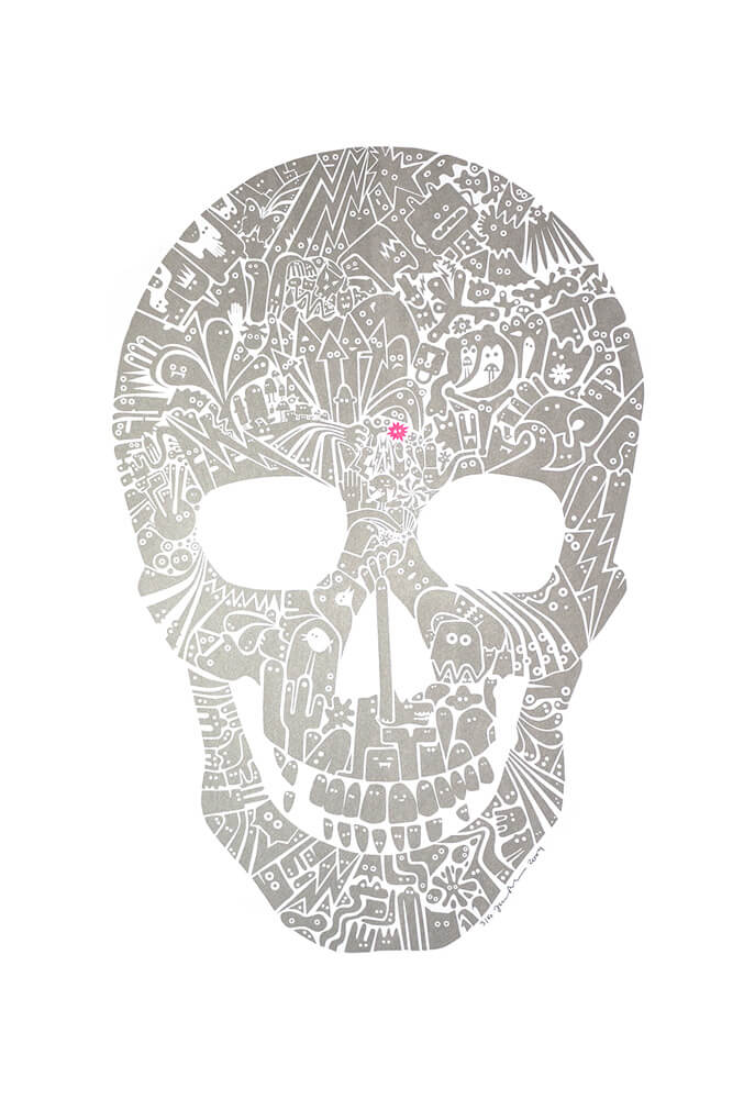James Bates Silver Skull for Modern ArtBuyer