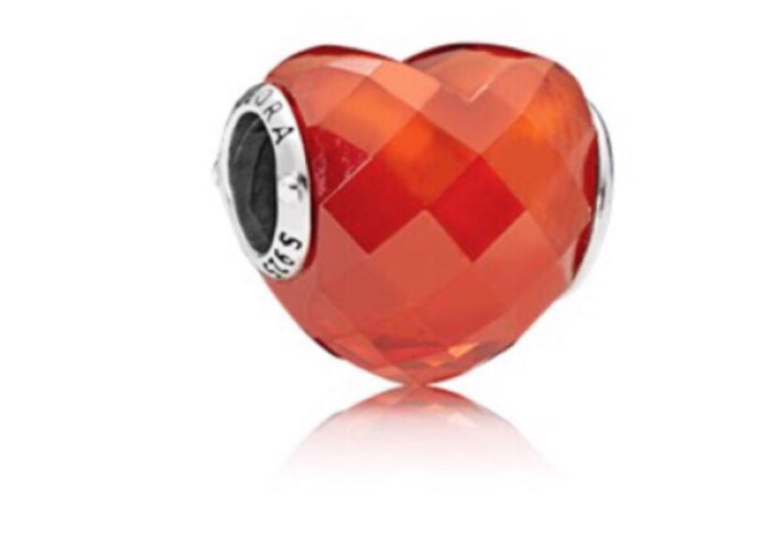 heart shape charm orange color Pandora charm 92.5 Italy silver