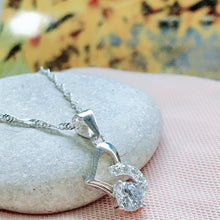Load image into Gallery viewer, Sideway Heart  with Stone Pandora Necklace  92.5 Italy silver