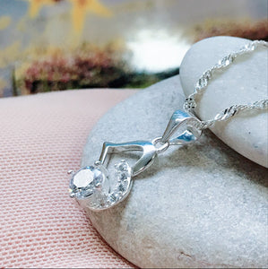 Sideway Heart  with Stone Pandora Necklace  92.5 Italy silver