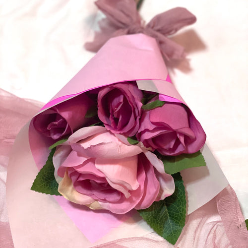 Gift for HER 4pcs Silk Roses in Wrap