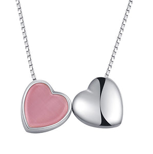 Double Heart Necklace  92.5 Italy silver