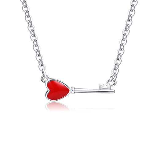Red Heart Keys Necklace  92.5 Italy silver