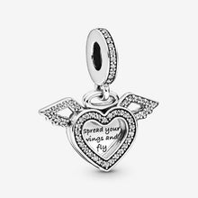 Load image into Gallery viewer, Heart Wings Pandora charm 92.5 Italy silver