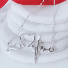 Load image into Gallery viewer, Heart Beat Necklace   92.5 Italy silver