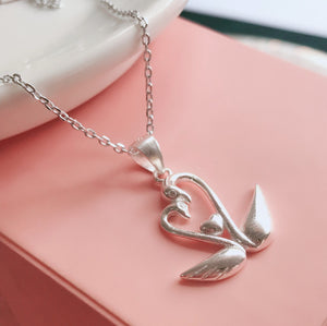 Swan Couple Necklace  92.5 Italy silver