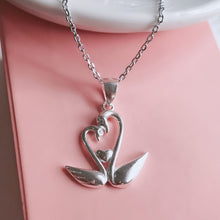 Load image into Gallery viewer, Swan Couple Necklace  92.5 Italy silver