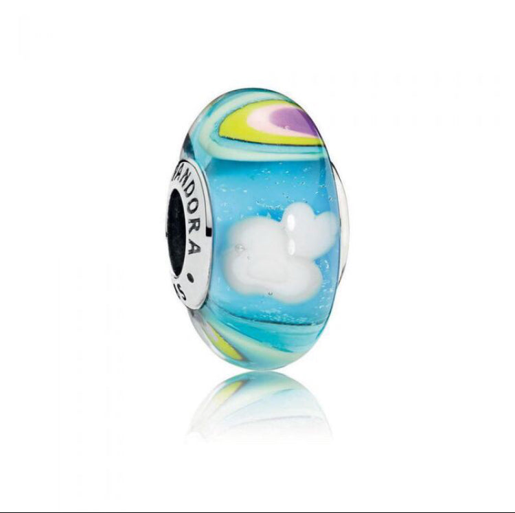 Iredescent rainbow murano glass Pandora charm 92.5 Italy silver
