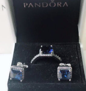 Earrings and Ring Pandora  92.5 Italy silver