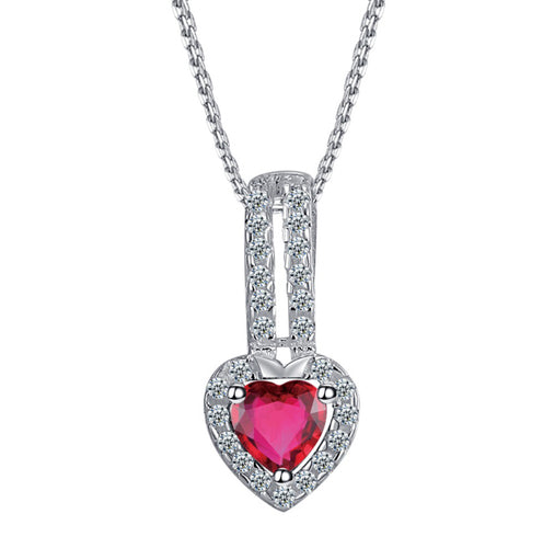 Heart with Pink Stone Necklace  92.5 Italy silver