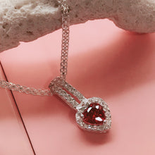 Load image into Gallery viewer, Heart with Pink Stone Necklace  92.5 Italy silver