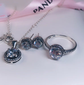 Necklace Earrings Ring Pandora 92.5 Italy silver