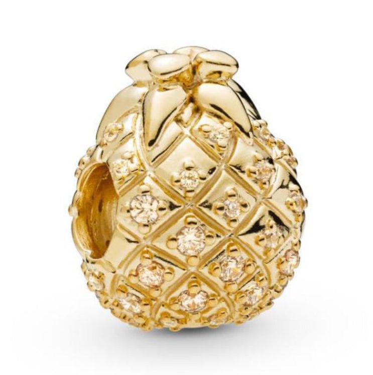 Gold Pineapple Pandora charm 92.5 Italy silver