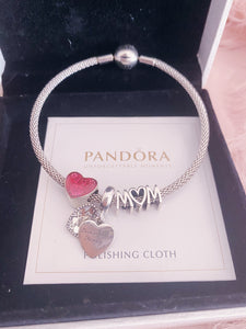 Mom Heart Pandora 3 Charms Bangle Set Italy Silver 925