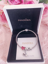 Load image into Gallery viewer, Heart Best Mom Trophy Pandora 3 Charms Bangle  Set Italy Silver 925