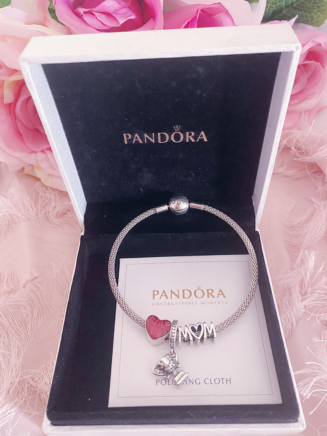 Heart Best Mom Trophy Pandora 3 Charms Bangle  Set Italy Silver 925