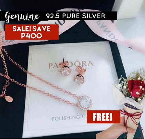 Rose Gold Necklace Earrings Pandora 92.5 Italy silver