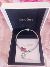 Load image into Gallery viewer, Book Heart Mom Family Pandora 3 Charms Bangle Set Italy Silver 925