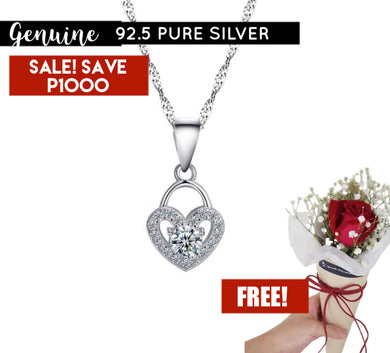 Pandora Heart Plated Stone Necklace N151 92.5 Italy Silver
