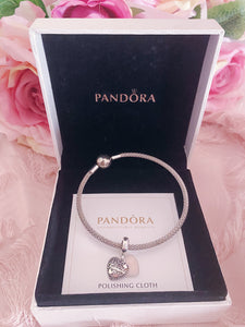 Family Heart Mom Pandora 1 Charm Bangle Set Italy Silver 925