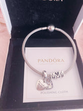 Load image into Gallery viewer, Heart Mom Family Pandora 2 Charms Bangle Set Italy Silver 925