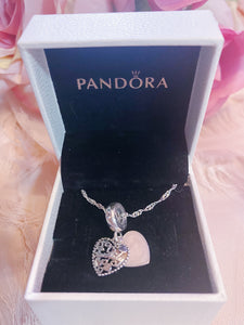 Family Heart Mom Pandora Necklace Charm Set Italy Silver 925