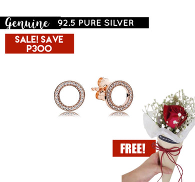 Rose Gold Earrings Pandora  92.5 Italy silver