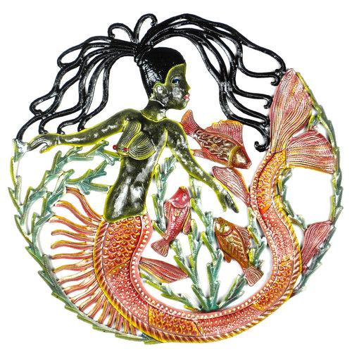 Global Crafts - 24 inch Painted Mermaid & Fish - Caribbean Craft