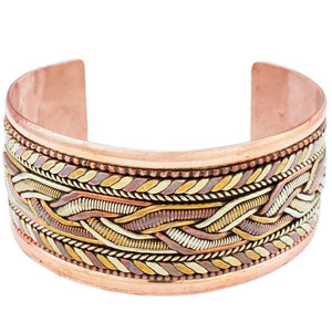Global Crafts - Copper and Brass Bracelet: Healing Cuff - DZI (J)