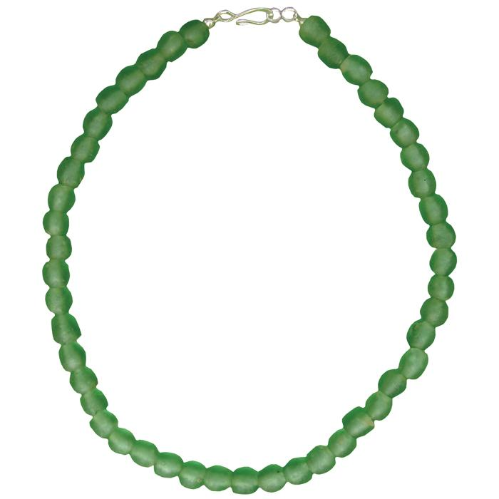 Global Crafts - Global Mamas Glass Pearls Necklace Moss - Global Mamas