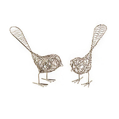 Global Crafts - Set of Two Decorative Wire Birds - Mira (Bell)