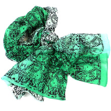 Load image into Gallery viewer, Three Shades Green Cotton Scarf Handmade and Fair Trade