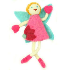 Hand Felted Tooth Fairy Pillow - Blonde with Pink Dress Handmade and Fair Trade