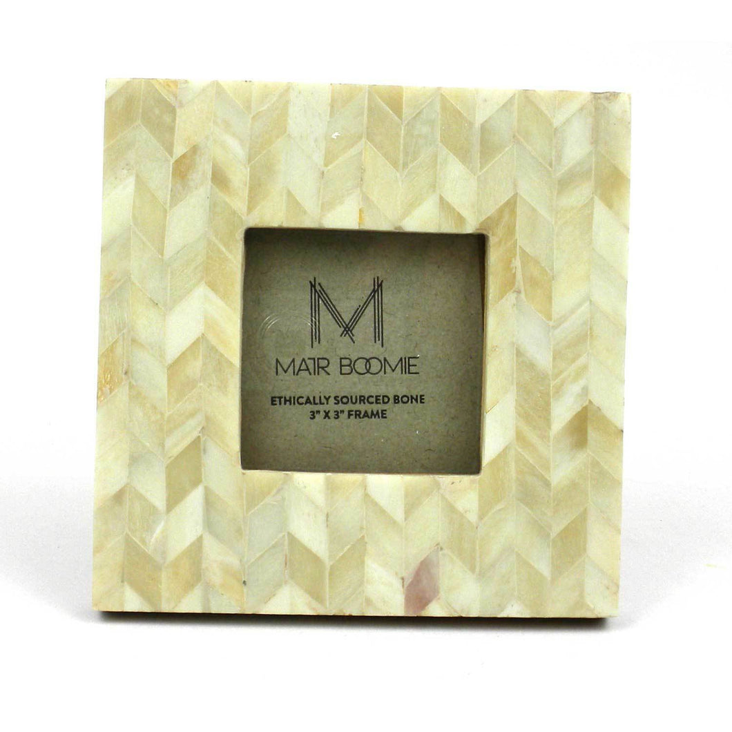 Global Crafts - Square Chevron Pearl Bone Wood Frame 3x3 - Matr Boomie (P)