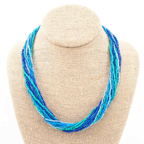 Global Crafts - 12 Strand Bead Necklace - Blue/Green - Lucias Imports (J)