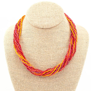 Global Crafts - 12 Strand Bead Necklace - Red/Orange - Lucias Imports (J)