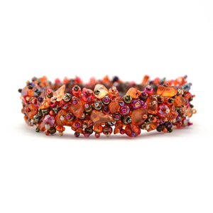 Global Crafts - Magnetic Stone Caterpillar Bracelet - Merlot - Lucias Imports (J)