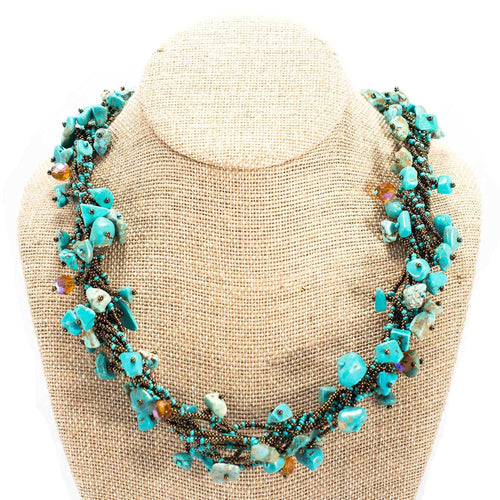 Global Crafts - Chunky Stone Necklace - Turquoise - Lucias Imports (J)