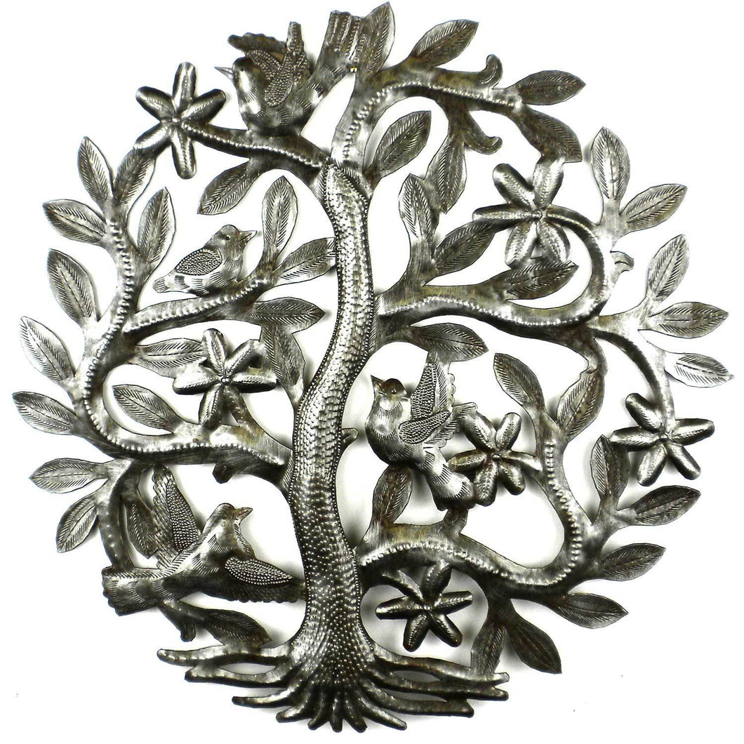 Global Crafts - 14 inch Tree of Life with Birds Wall Art - Croix des Bouquets