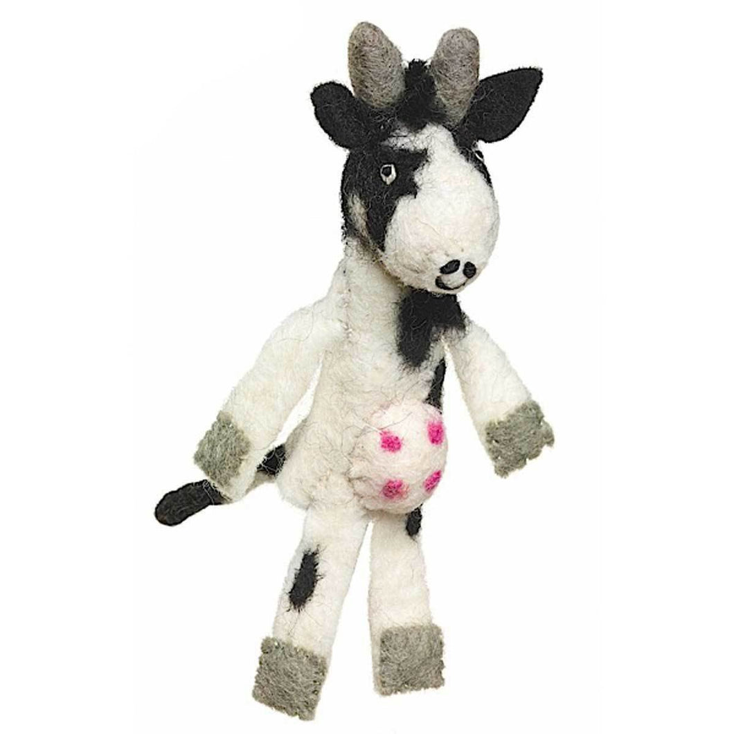 Global Crafts - Woolie Finger Puppet - Cow - Wild Woolies (T)