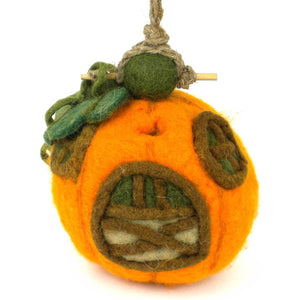 Global Crafts - Felt Pumpkin Cottage Bird House - Wild Woolies