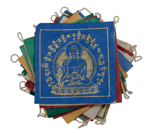 Global Crafts - Paper Prayer Flag: 8 ft Medicine Buddha - Tibet Collection