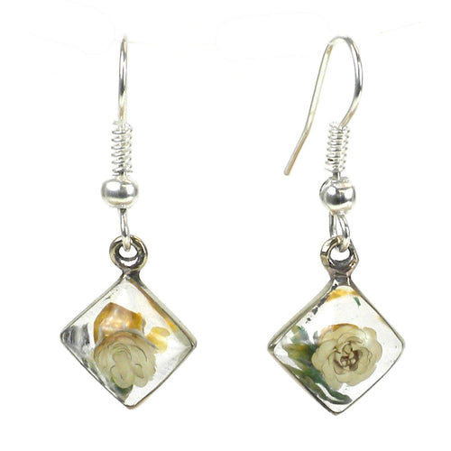 Global Crafts - Small Nahua Flower Rhombus Earrings - Artisana