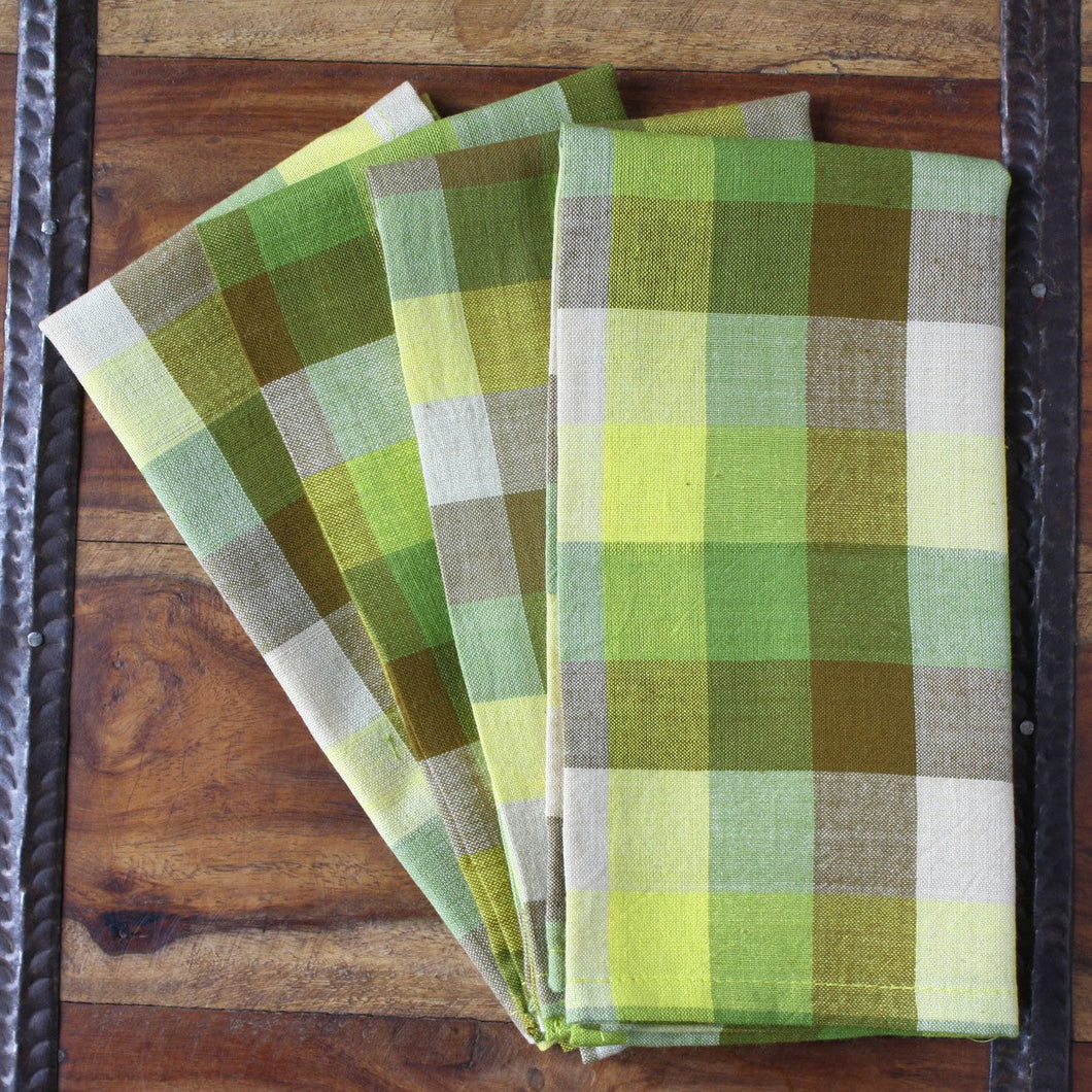 Global Crafts - Green Madras 16 inch Cotton Napkin Set of 4 - Sustainable Threads (L)